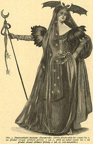 Engraving: woman in gothic costume