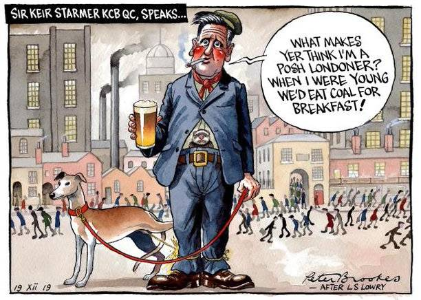 Cartoon, Keir Starmer as character in a Lowry cityscape